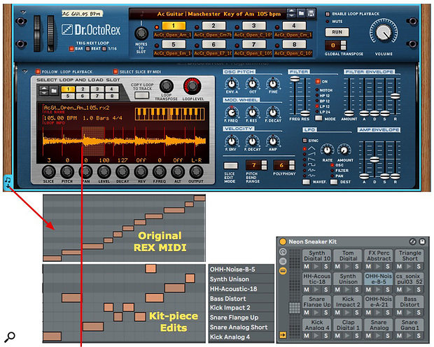 Screen 5: The timing of Rex slices is adapted to sequence an accompanying drum loop.