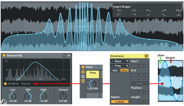Screen1: The blue curve at the top modulates the Channel EQ's frequency relative to its current setting. The curves were fashioned from preset shapes using curve-shaping tools.