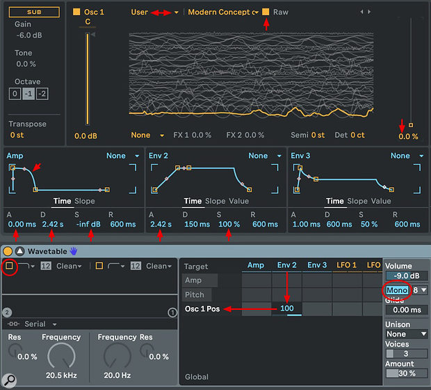Screen 2: This Wavetable setup will come close to reproducing the sample loaded into osc 1. The amp envelope decay and env 2 attack settings are set to the original sample length.