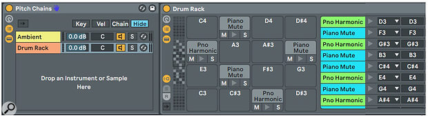 Screen 2: Ambient notes are distributed using Scale effects in octave chains, whereas Harmonics and Mute notes are distributed among Drum Rack pads.