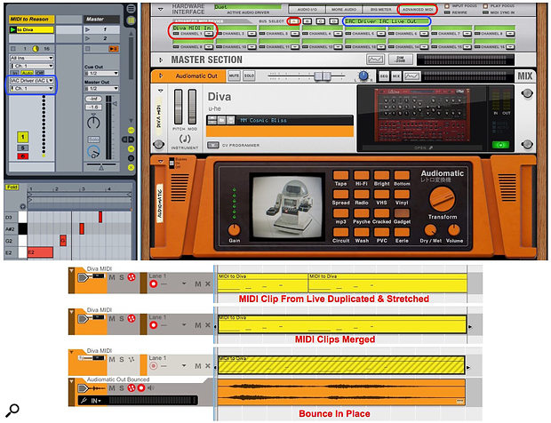 Screen 1: Reason's Rack holds the Diva VST plug-in processed by Reason's Audiomatic effect. MIDI from Live is sent to Diva in Reason using an IAC bus.