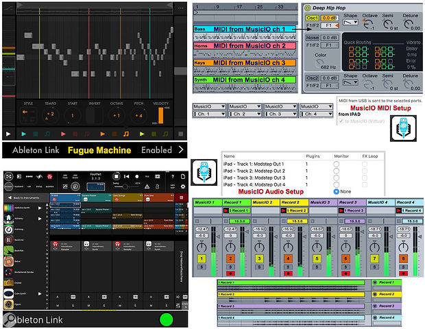 Screen 3: Fugue Machine (top) scans a  single MIDI clip with four playheads and exports MIDI to Live using MusicIO. Modstep emulates Live's Session view and lets you use most iOS music apps as well as its built-in players on its tracks. Ableton Link keeps everything in sync.