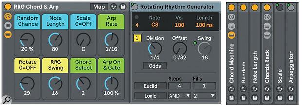 Screen4: RRG triggering a Live MIDI Effects Rack chord generator.