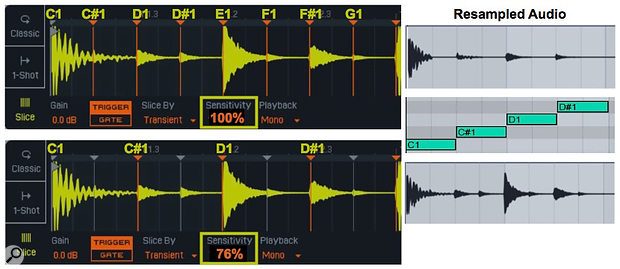 1: Notes beginning with C1 trigger Simpler slices at the Start marker and active (orange) transients. The resampled audio clips at the right show the effect of playing the two Simplers with the same MIDI clip.