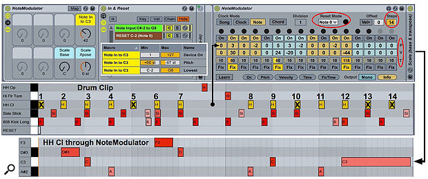 Screen 3. NoteModulator, with help from Live's Pitch and Scale MIDI Effects, turns kit-piece loops into tonal sequences.