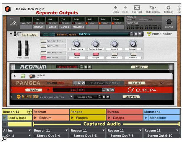 Screen 1: The four audio clips were captured in one pass from one Reason Rack with sequencers to play drums and guitar and one MIDI clip to play lead and bass in separate key zones.