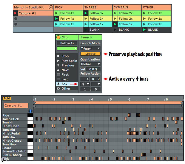 Screen 2: The MIDI clip at the bottom captures eight bars of Follow Action playback of the four kit‑piece tracks.
