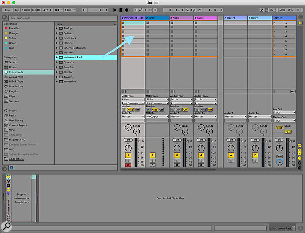 Screen1: Prepare your Instrument Rack by dragging an empty Instrument Rack preset onto aMIDI track.