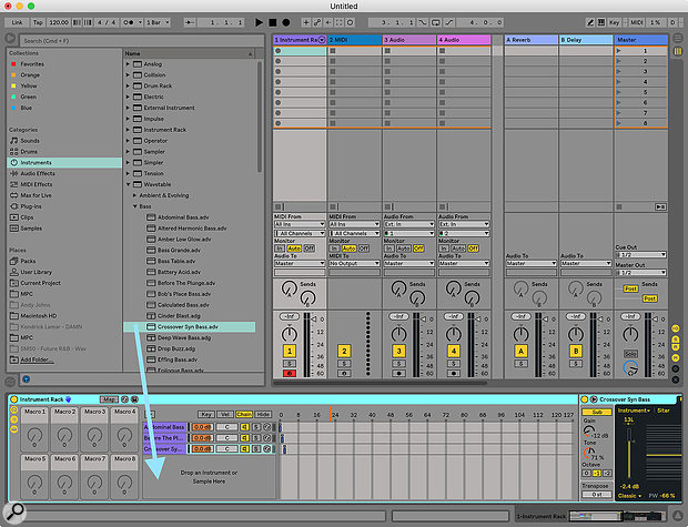 Screen 2: To create an Instrument Rack that you can use as a song playlist, drag instrument presets from the Browser straight into the Instrument Rack and then assign each instrument a unique Chain Selector value.