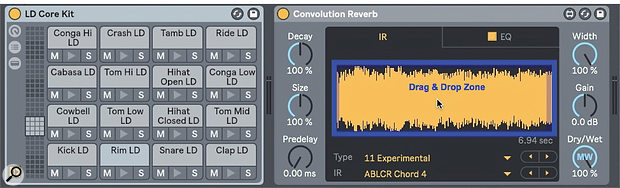 Screen 1: Use Live's LD Core Kit to audition IR samples in Convolution Reverb.