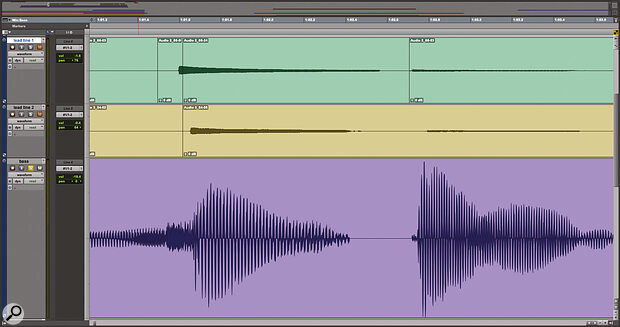 The edits in the two guitar tracks at the top of this screen are obvious, but the real problem is with the double bass in the lower half of the screen. Here an edit has been rendered without fades or backfilling, meaning the waveform suddenly cuts off and gives way to digital silence.