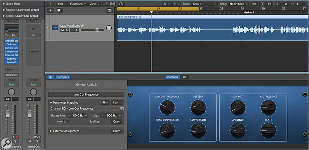 Screen 1: Smart Controls allow you to efficiently take control of alarge effects chain. Here Ihave created avocal processing chain with an accompanying Smart Control layout that allows me to quickly clean up the low end of avocal, de-ess it, try out different types of compression, apply basic equalisation and add plate reverb or ambience.