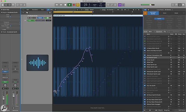 Screen 1. Setting the Track Automation button to Region allows you to record or draw automation into a region. Loop the region by pressing L and you'll hear both the melody and automation repeating.
