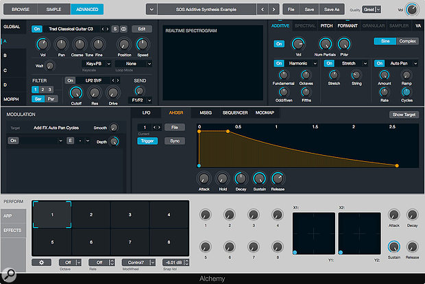 Screen 1: A  guitar sample can be tweaked beyond all recognition using Alchemy's three additive element effects slots. Here I  am using the Harmonic, Stretch and Auto Pan effects.