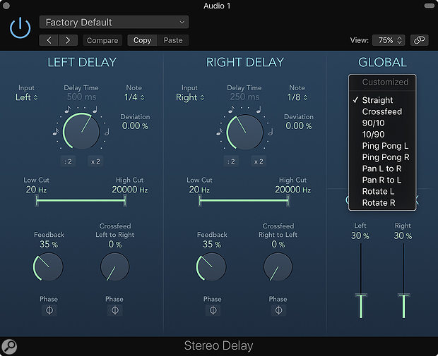 Screen 1: Logic's Stereo Delay is very flexible at emulating different stereo delay configurations. To make the process of comparing configurations easier, the Routings drop-down menu contains a series of presets.