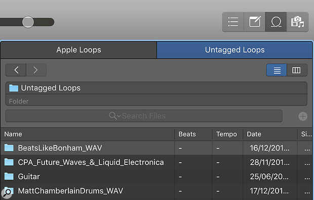 Screen 1: Once you have dragged a folder of samples onto the Loop Browser the Untagged Loops Tab will appear.