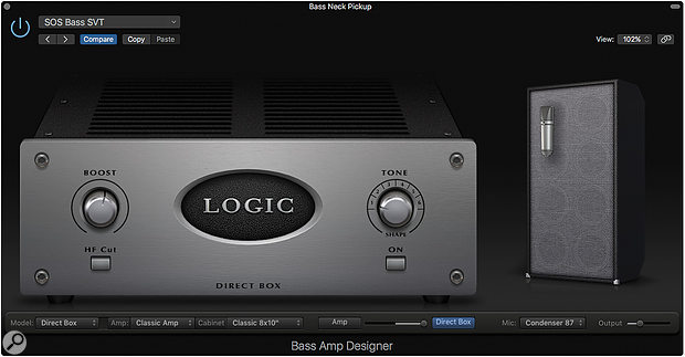 Screen 1. Logic's Bass Amp Designer contains an emulation of an Avalon Ultra Five Direct Box, which is perfect for shaping the direct sound of your bass.