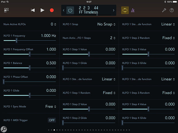 Screen 1: Editing insert effect parameters is easy with the Logic Remote iPad app.