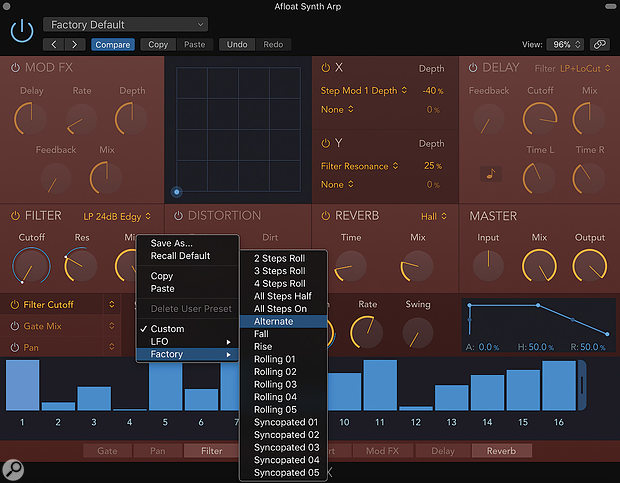 Screen 1: Step FX ships with some great preset patterns for the Step Modulator section. The Factory / Alternate preset is an easy place to start creating your own Step Modulator pattern.