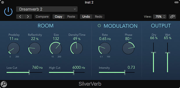 Screen 1: SilverVerb might be one of the older reverbs in Logic Pro X, but it is light on CPU.