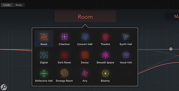 Screen 2: ChromaVerb comes with 14 Room Types, each with a different sonic characteristic.