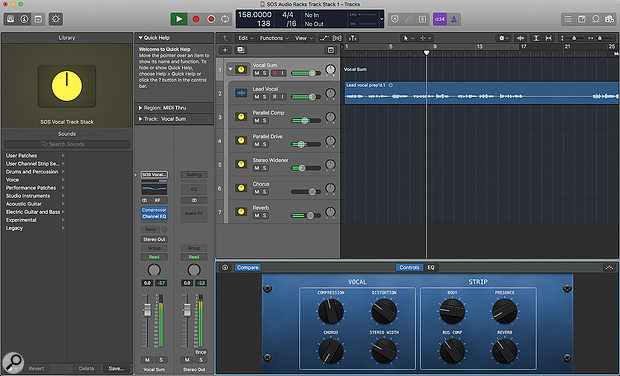 Screen 3: The final vocal Track Stack with accompanying Smart Controls, all of which can be saved and recalled in any project.