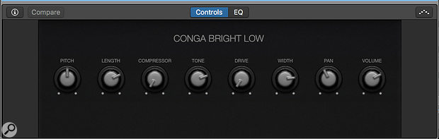 Screen 3: The '+' version of a percussion preset has a dedicated channel strip for each percussion element. Each element also has its own set of Smart Controls for tweaking the key parameters of the instrument.