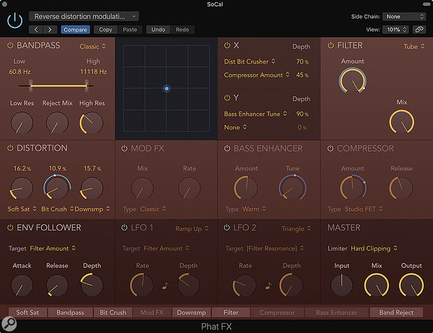 Screen2: Here the Enveloper Follower is being used to decrease the the amount of distortion applied to loud transients, effectively cleaning up the loud transients and applying the distortion effect to the quieter portions of each drum hit.