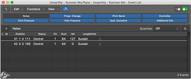 Screen4: The View Filter in the Event List lets you identify redundant MIDI data for easy deletion.