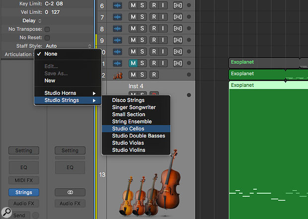 Articulations are accessible in the Track Inspector.