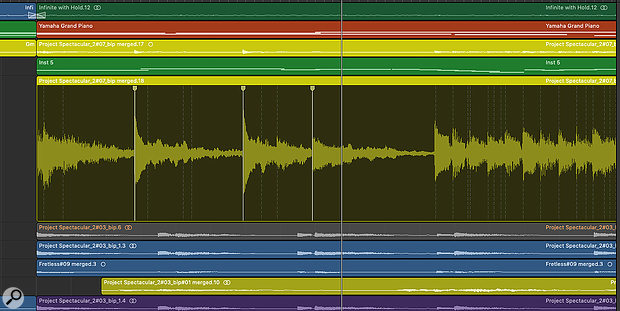 When you activate Flex Time on a track, Logic will analyse that track's content and place Flex Markers on it (the dotted lines). Clicking on those lines activates them, allowing you to stretch and squeeze the audio between them.