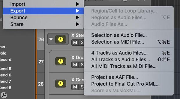 Logic Pro's export options.