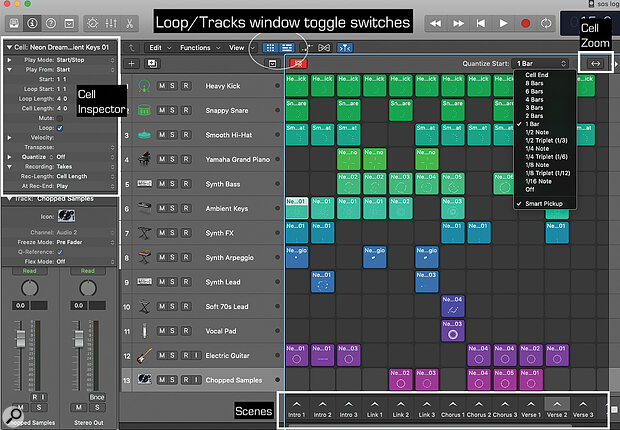 The Tracks and Live Loops views are accessed using the toggle buttons at the top of Logic 10.5.