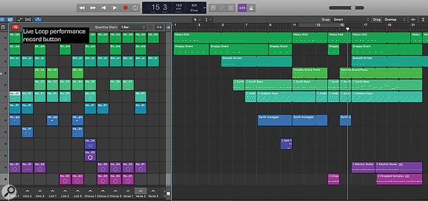 The performance record button at the top-right of the Live Loops window lets you record your arrangement into the Tracks view.