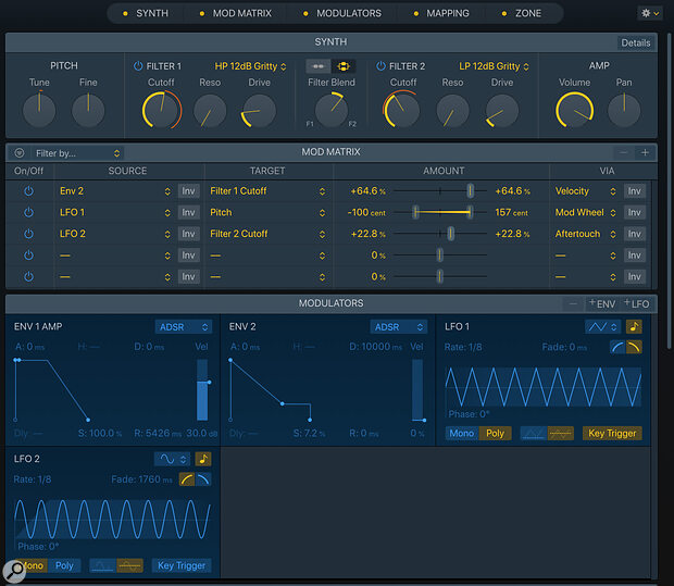 The Synth section provides extensive modulation and processing options.