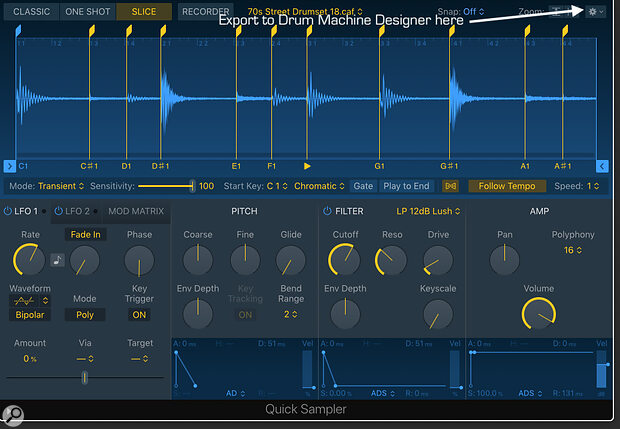 Quick Sampler is ideal for creating your own drum instruments, and can export samples and settings straight to Logic's Drum Machine Designer.
