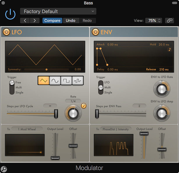 The Modulator plug-in is split into two, with the LFO section on the left and the Envelope section on the right.