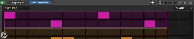 Screen 3: Adjusting loop lengths in the Step Sequencer.