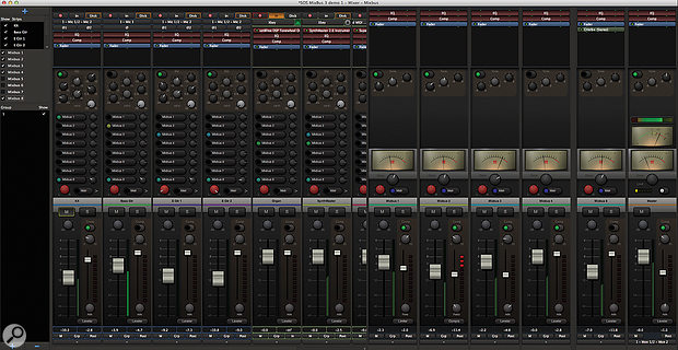 The Mixer window in Mixbus 3 sees Harrison's large-format console design recreated in software.