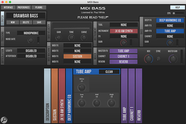 Bundled with MIDI Guitar 2 is MIDI Bass, which is optimised for monophonic, low-frequency operation.
