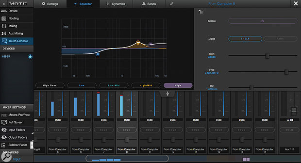 The EQ (above) and Dynamics (below) pages of the new Touch Console view.