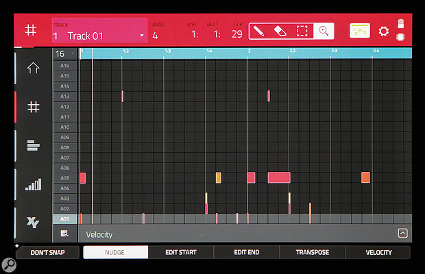 Screen 3. The contents of MIDI Tracks are shown in Grid view.