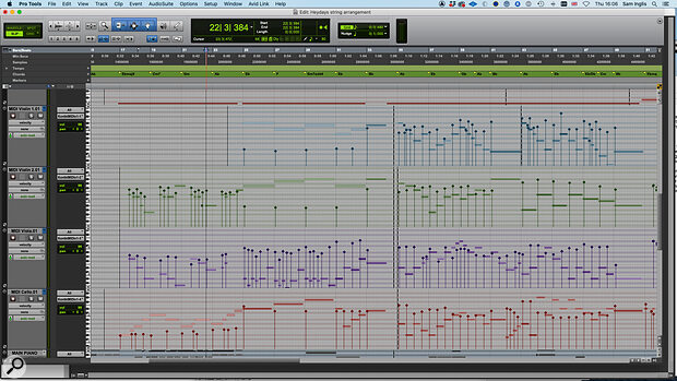 The string arrangement was drafted in a separate Pro Tools session, with the Chord track (top) providing ahelpful reference.