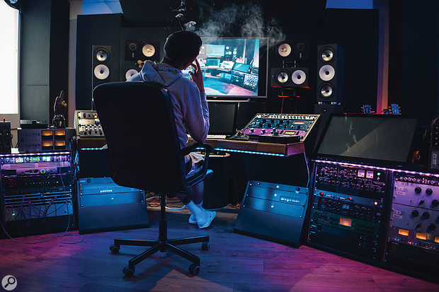 Visible in this broad shot of MsM at his mixing position are the distinctive Amphion monitors — he has two pairs and rates them very highly.