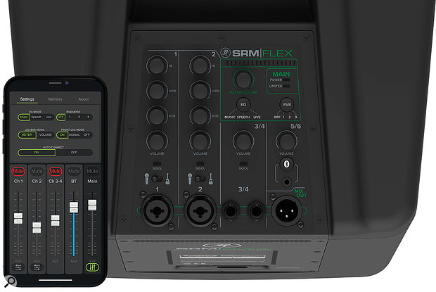 The base unit features a built-in mixer, which can be controlled from a smartphone or tablet via Bluetooth, and can accommodate two mono and two stereo inputs.