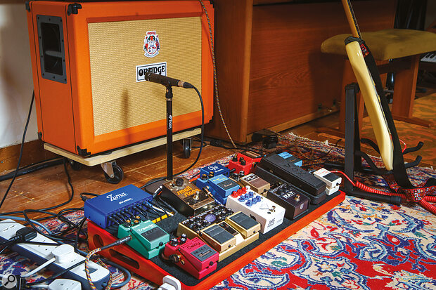 For electric pianos and organs, Matt Berry favours his Orange and Fender guitar amps. He is also an avid pedal collector; the Small Stone Phase on the upper tier of his pedalboard was agift from Jean‑Michel Jarre, who used it on his seminal Oxygène album.