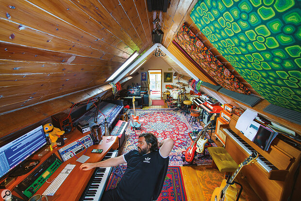 Matt Berry's home studio on the outskirts of London. The large Midas Verona console forms arouting hub, but Berry does most of his mixing in Logic.