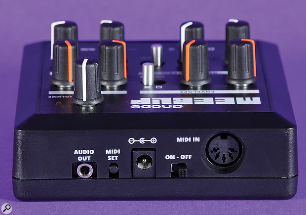 The Anode's rear panel hosts a 3.5mm audio output, a button to set the MIDI channel, an on/off switch and a MIDI In port.
