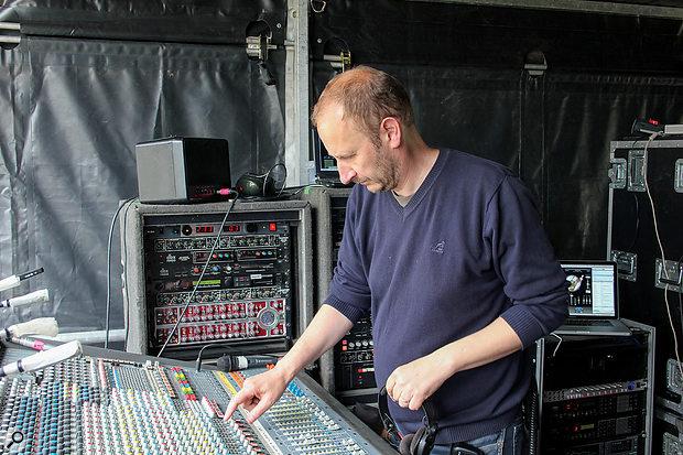 Jon Burton with XL3 number 003, at a Prodigy concert at Milton Keynes' National Bowl, 2010.