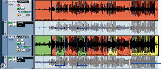 The main drum 'overheads' sound was created by using fader automation to balance between two different mics in real time — a mic above and behind the kit (top track) and a mic in front of the kit (bottom track). This allowed a more even cymbal and hi-hat balance to be achieved, albeit at the expense of a snare drum sound that varied slightly between different sections of the song.